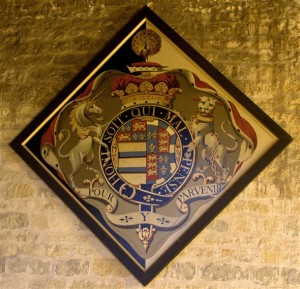 Hatchment for the 4th Duke of Rutland (from http://www.bottesfordhistory.org.uk/page_id__796_path__0p1p30p45p.aspx). Like Rutland, John would have been entitled to surround his arms with a Garter. Unlike Rutland, his would have been completely black due to the fact he was a widower