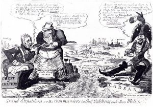 "George Cruikshank, ""The Grand Expedition"" -- a rather more critical *coughs* portrayal of Lord Chatham's inactivity than in ""Letters from Flushing"""
