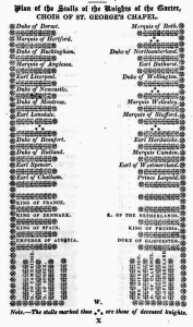 """Plan of the stalls of the Knights of the Garter as they stood in 1828 , from """"The Visitants' Guide to Windsor Castle"""" (thanks to regencyhistory.net for this)"""